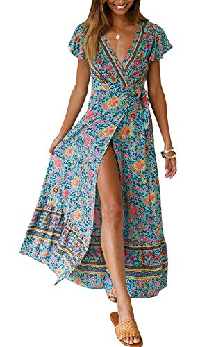ZESICA Women's Bohemian Floral Printed Wrap V Neck Short Sleeve Split Beach Party Maxi Dress Green (Summer Maxi Dresses For Women)