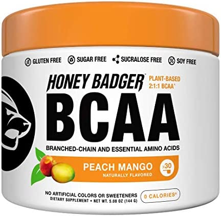 Honey Badger Vegan Keto BCAA EAA Electrolyte Powder Peach Mango Natural Gluten Free Amino Acids Essential Aminos Sugar Free Sucralose Free 30 Servings