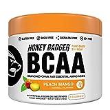 Honey Badger Vegan Keto BCAA + EAA Electrolyte Powder   Peach Mango   Natural Gluten Free Amino Acids Essential Aminos Sugar Free + Sucralose Free   30 Servings