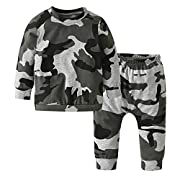 Eghunooy Toddler Infant Baby Boys Girls Camouflage Tops Pants Outfits Set (6-9 Months)