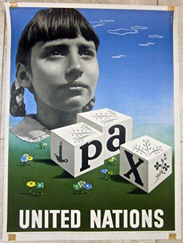 (CUT 100 UNITED NATIONS 1948 UN POSTER- BEST INTERNATIONAL POSTER AWARD WINNER)
