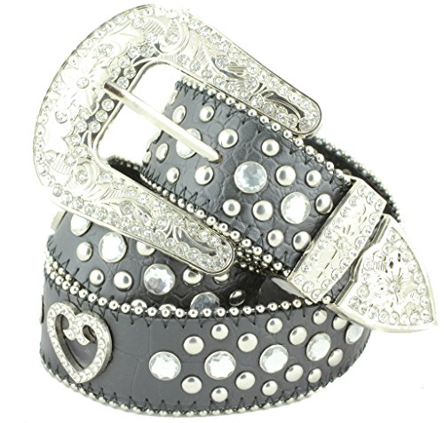 Rhinestone Buckle Belt Heart - Deal Fashionista BLACK HEART Concho Western Rhinestone Bling Studded Removable Buckle Belt