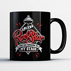 Rockstar Coffee Mug - The Bathroom Is My Stage - Funny 11 oz Black Ceramic Tea Cup - Cute and Humorous Rockstar Gifts with Rockstar Sayings