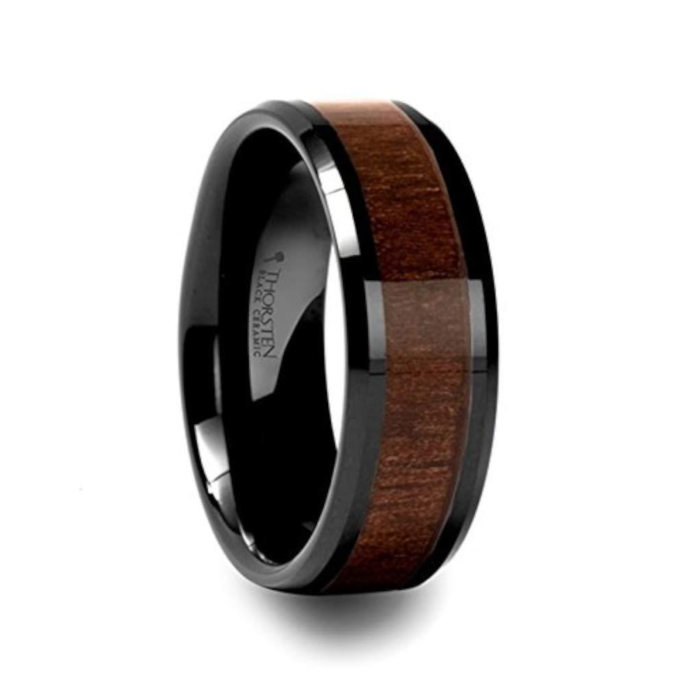 YUKON Beveled Black Ceramic Ring with Black Walnut Wood Inlay - 6mm - 10mm