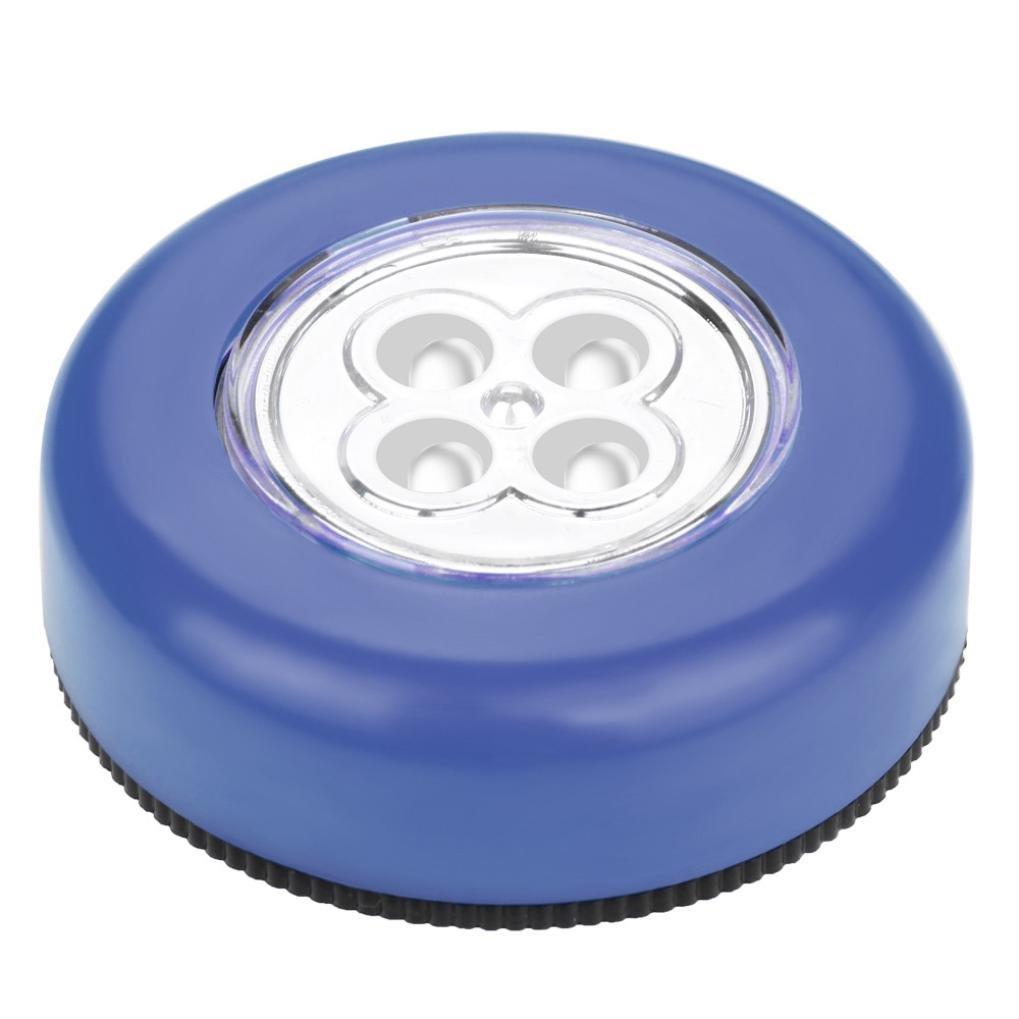 AMA(TM) 4 LED Touch Night Light Home Kitchen Under Cabinet Closet Push Stick On Sensor Lamp (Blue)