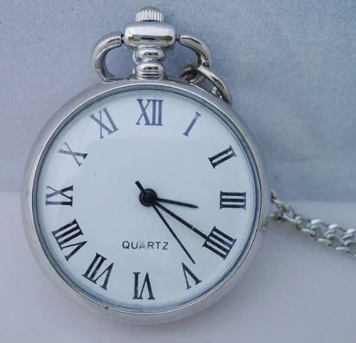 Small Vintage Silver Finish Victorian Steampunk Pocket Watch with Roman Numerals (Functional) (Costume Pocket Watch)