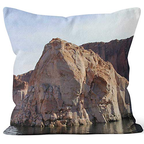 (Nine City Rock Formation on Lake Powell Throw Pillow Cushion Cover,HD Printing Decorative Square Accent Pillow Case,26