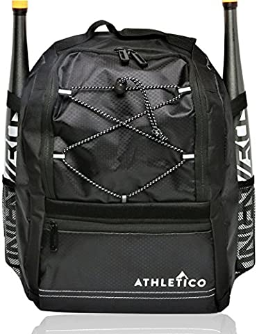 Athletico Youth Baseball Bat Bag - Backpack for Baseball, T-Ball & Softball Equipment & Gear for Boys & Girls | Holds Bat, Helmet, Glove | Fence Hook - Personalized Free Toddler Tee