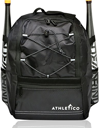 Athletico Youth Baseball Bat Bag - Backpack for Baseball, T-Ball & Softball Equipment & Gear for Boys & Girls | Holds Bat, Helmet, Glove | Fence Hook (Black)