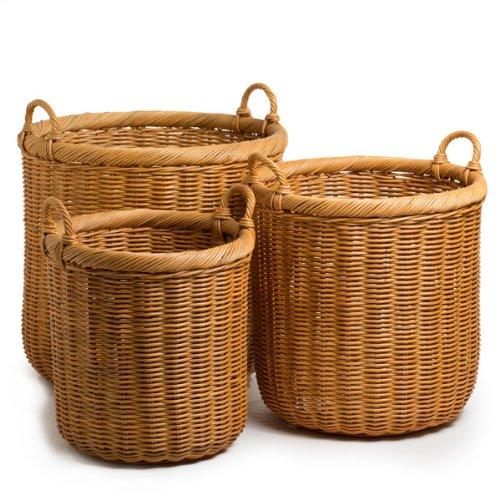 The Basket Lady Round Wicker Storage Basket, Large, Toast...