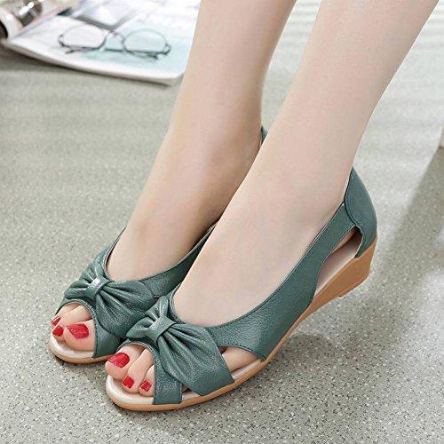 Tyery Con Sandalias Edad Verde Madre Baja Peces 41 De Cuero Pendiente Zapatos Mediana Mujer Boca Flores 4rB4Rq