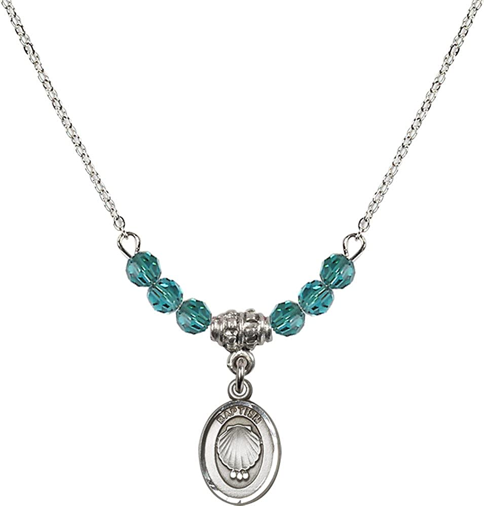18-Inch Rhodium Plated Necklace with 4mm Zircon Birthstone Beads and Sterling Silver Baptism Charm.