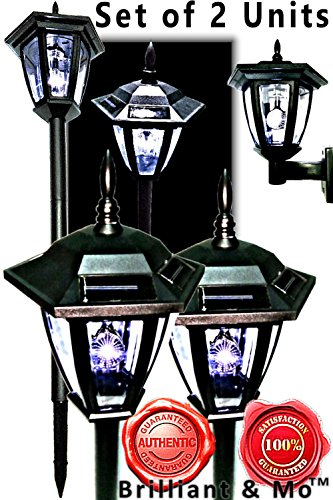 Black Vintage Hexagon Light Solar Lantern Post Garden Stake With Wall Mount Solar Lantern Lights (Pack of 2) (Lantern Post Set Outdoor)