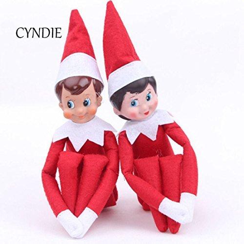 CYNDIE Christmas Novelty Red Elf on The Shelf Plush Dolls Girl Boy Figure Christmas Toys Gifts (Christmas Elf Toy)