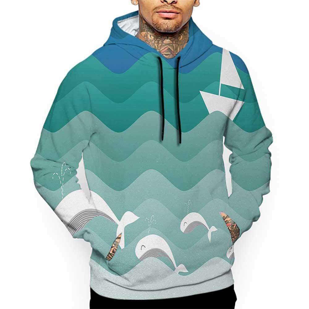 Hoodies Sweatshirt/Autumn Winter Nautical,Nautical Theme with Paper Boat Sea Happy Dolphins Underwater Sea Animals,Blue Sea Green White Sweatshirt Blanket