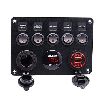 6 Gang LED Schalttafel Wippschalter Wasserdicht mit Voltmeter Auto Boot Marine