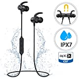 Bluetooth Headphones, Mpow S11 Sports Wireless Headphones With Bluetooth 5.0 & aptX, IPX7 Earphones HD Stereo Sound for 9 Hrs Playtime, Magnetic Sports Earbuds with Mic for Running Gym Workout-Black
