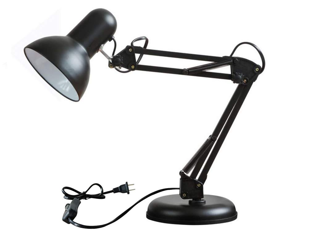 Multi-Joint Metal Desk Lamp Flexible Arm,Classic Architect Table Lamp, Office Lamp, Black