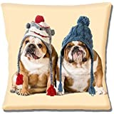 "Two English Bulldogs wearing knitted hats on Cream - 16"" (40cm) Pillow Cushion Cover"