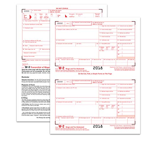 TOPS W-2 Tax Forms for 2018-6-Part Form Sets for 50 Employees and Three W-3 Summary Transmittal Forms, Inkjet/Laser Compatible (TX22991)