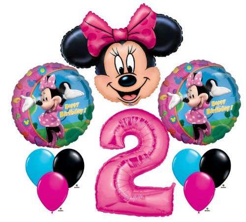 Minnie Mouse #2 2nd Second Happy Birthday Balloon Party Set Mylar Latex Disney by -