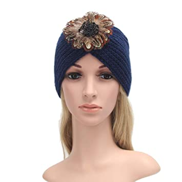 5437d947307 Image Unavailable. Image not available for. Color  Challyhope Womens  Vintage Winter Warm Knit Crochet Ski Hat Braided Turban Beanie Hats  Headdress Cap ...