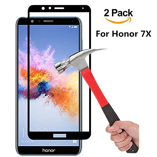 (2 PACK) Huawei Honor 7X Screen Protector (Full Screen Coverage), VPR 9H Hardness 2.5D Tempered Glass Ultra-Clarity Highly Responsive Bubble-Free Scratch-Proof for Honor 7X (Black 2Pack)