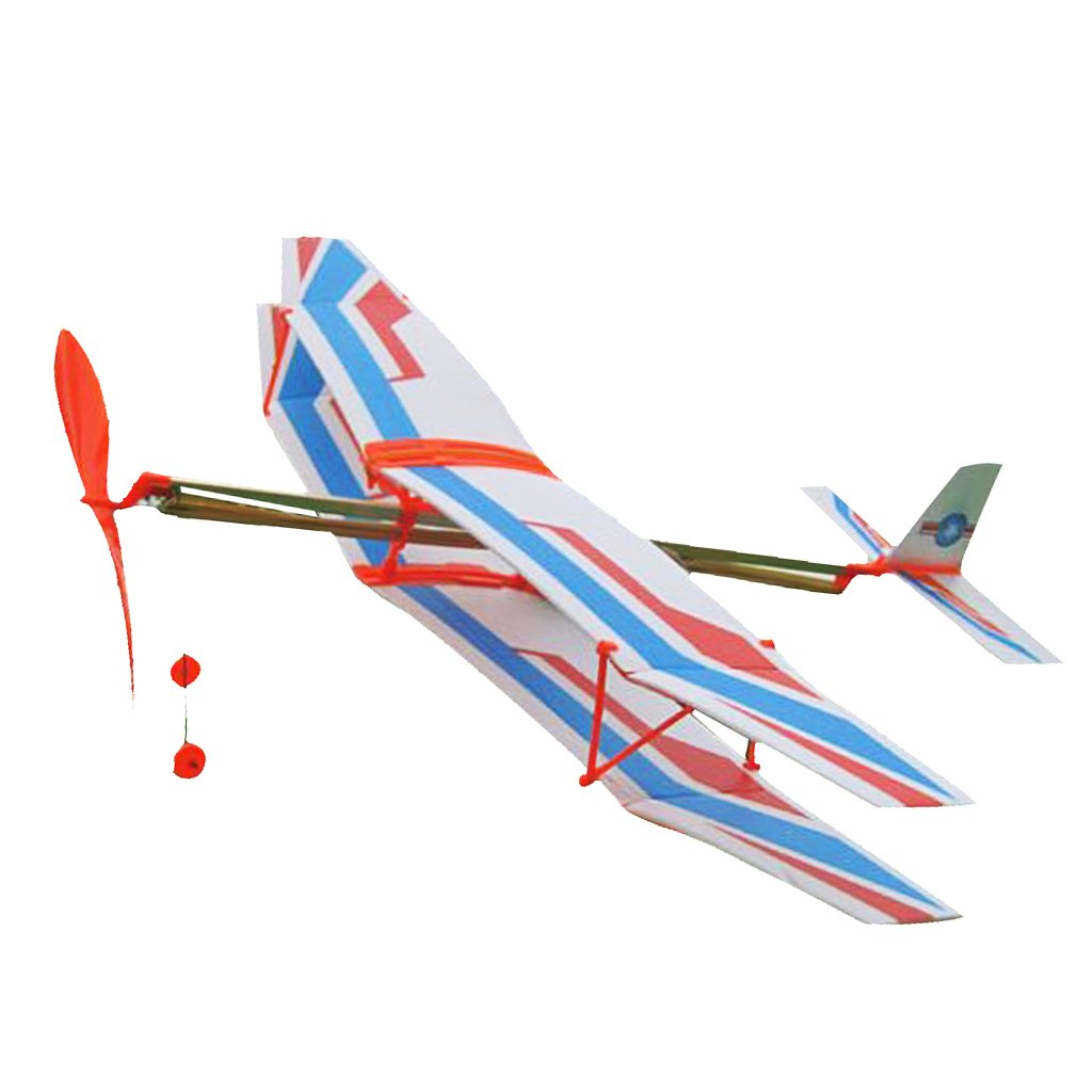 Dolity 2x Foam Biplane Models Aircraft Elastic Powered for Kids Family Set Fun Toys