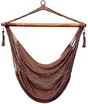 CCTRO Mesh Hammock Net Chair Swing, Hanging Rope Netted Soft Cotton Mayan  Hammock Chair Swing Seat Porch Chair for Yard Bedroom Patio Porch Indoor