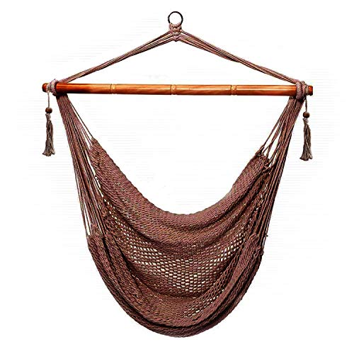 (CCTRO Mesh Hammock Net Chair Swing, Hanging Rope Netted Soft Cotton Mayan Hammock Chair Swing Seat Porch Chair for Yard Bedroom Patio Porch Indoor Outdoor, 300 lbs Weight Capacity)