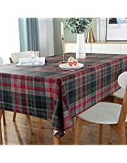 DARUITE PVC bordsduk vattentät avtorkbar, plast torka ren bordsduk sömnad rutig rektangulär, bra för utomhus, matsal, fester, trädgård