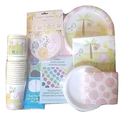 """Baby Shower Party Decoration Set for Girl. All-in-One Bundle Kit with """"It's a Girl"""" Plates, Napkins, & Garland. Animal Cups & Table Cloth Included."""