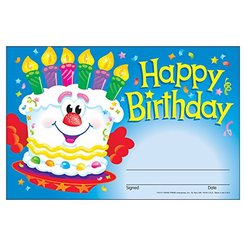 Trend Enterprises Happy Birthday Cake Recognition Awards, 30 per Package (T-81017) (Happy Birthday Packages)