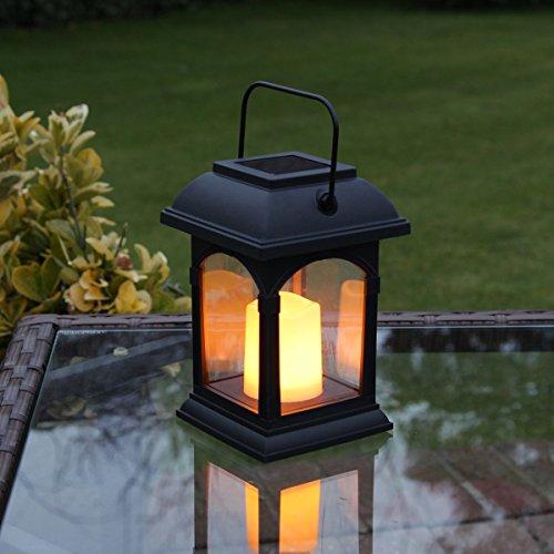 Solar Kerze Laterne mit Flackereffekt, schwarz, Bernstein LED, 15cm