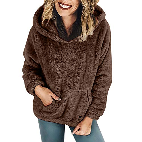 - HHei_K Womens Casual Long Sleeve Kangaroo Pouch Hooded Sweatshirt Oversized Thick Solid Winter Warm Flannel Pockets Top Coffee