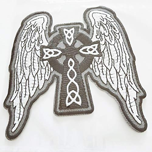 (Angel Wings Embroidered Patch White/Black Patch Feather Patches Festival Men Adult Lady Rider (3.50 x 4.00