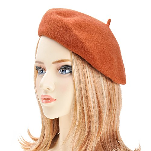ZLYC Wool Beret Hat Classic Solid Color French Beret for Women (Rust) by ZLYC