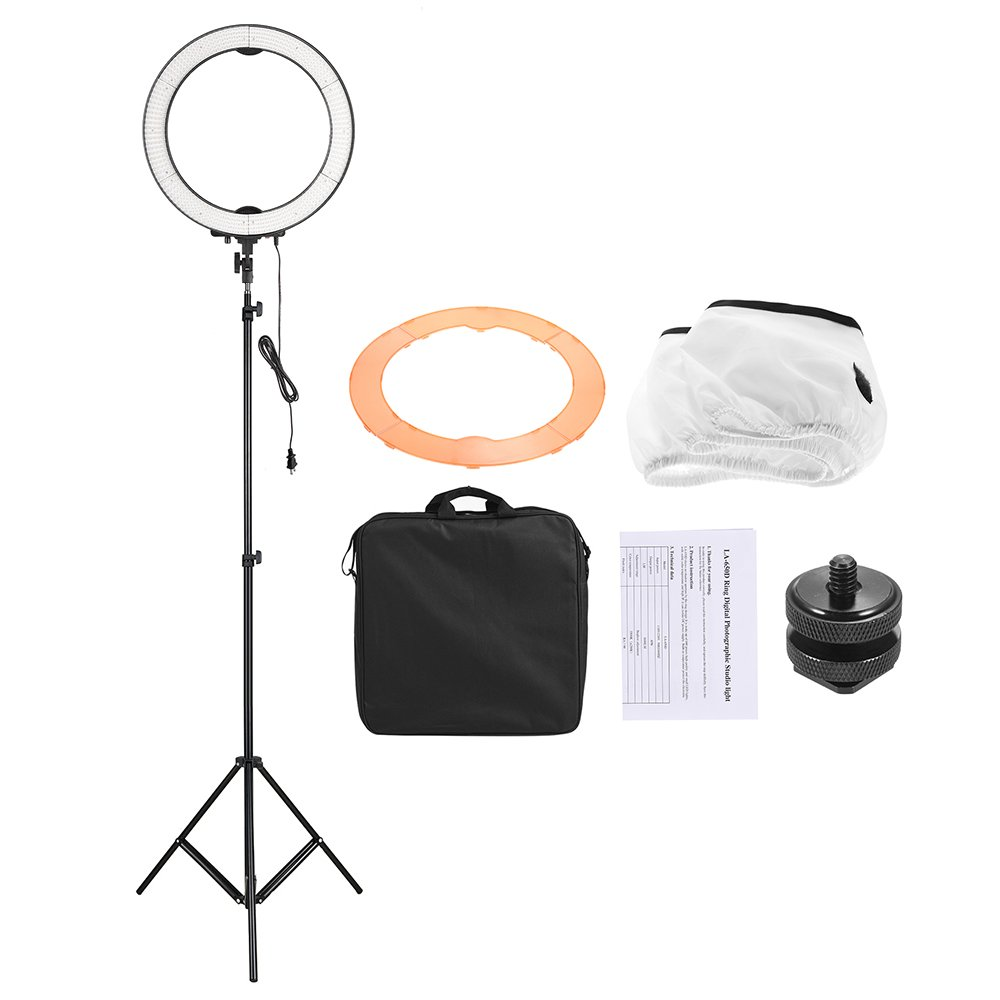 Andoer LA-650D LED Ring Light Kit 5500K 40W Ring Fill-in Studio Light with 600 LED Beads Stepless Adjustment with 2m/6.6ft Light Stand & Orange Color Filter & Mount Adapter