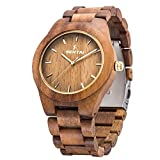 Men's Wooden Watch, Sentai Handmade Vintage Quartz Watches, Natural Wooden Wrist Watch