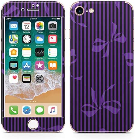 igsticker iPhone SE 2020 iPhone8 iPhone7 専用 スキンシール 全面スキンシール フル 背面 側面 正面 液晶 ステッカー 保護シール 008476 ユニーク 紫 リボン ストライプ パープル
