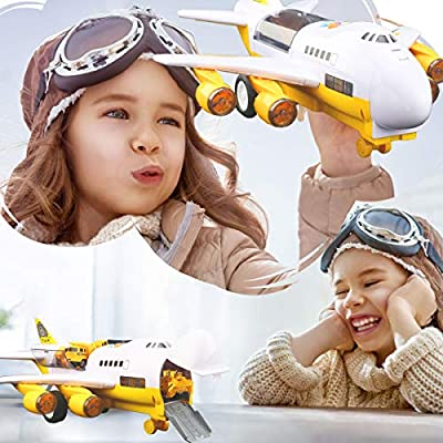 Kids Electronic Airplane Toys with Light and Music, Truck Cars, 11 Road Signs, Educational Vehicle Construction Car Set Gift for Child (Transport Cargo Airplane): Toys & Games