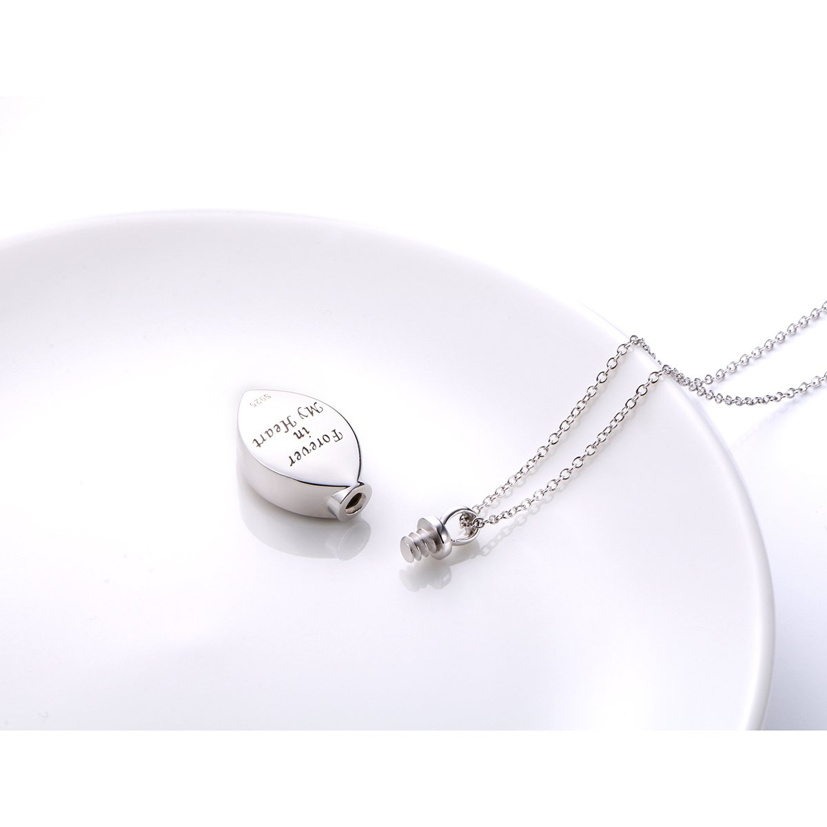 SILVER MOUNTAIN 925 Sterling Silver Cremation Jewelry Forever in My Heart Ashes Keepsake Urns Pendant Necklace 20