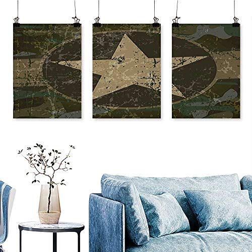 SCOCICI1588 Three Consecutive Painting Frameless Dusty Dirty Design with a Star in Circle Undercover War Theme Army Green Artwork for Wall Decor Triptych 24 INCH X 47 INCH X 3PCS