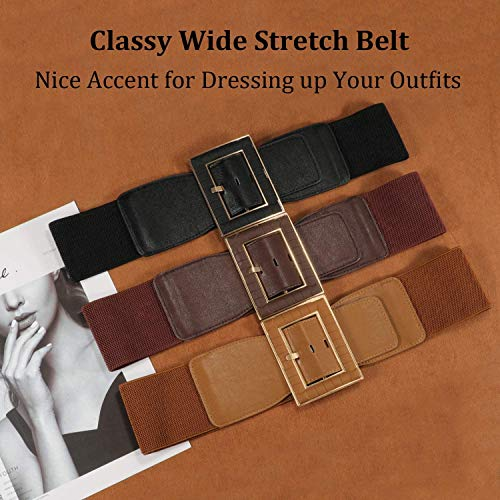 Women Wide Belt Stretch Elastic Band Wrap Cinch Retro High Waist Dress Belt S