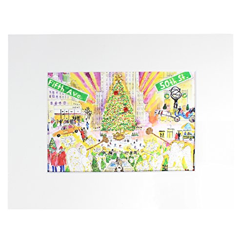 MICHAEL STORRINGS Matted Hand-Embellished Glittered 'Christmas in New York' Print, 5x7-in Print is Matted to 8x10 Final Size ()
