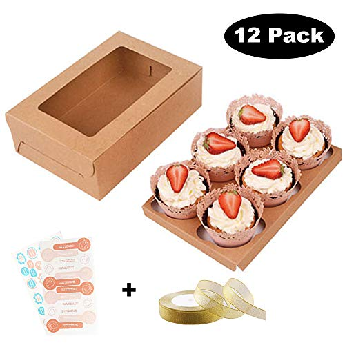 6 Cavity Kraft Paper Cupcake Boxe swith Insert, Valentines Day Cookie Gift Boxes with Stickers and Clear Window, 9.6 x 6.4 x 2.95 in Cupcake Containers Carriers Bakery Cake Box, ()