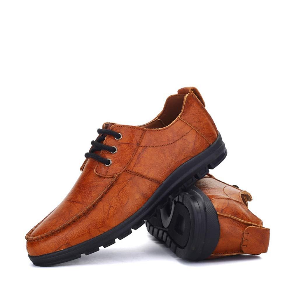 MMJ Herrenschuhe Frühjahr Herren Herren Herren Business Herrenschuhe Weiche Unterseite Schnürschuhe mit abgerundetem Absatz Flache Ferse die Schuhe fährt (Farbe   Braun Größe   42) bd5818
