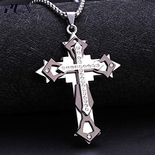 DHmart Mens Chains Male Cross Necklace Men Silver Stainless Steel Chain Choker Necklace BTS Accessories Chocker Neckless Punk