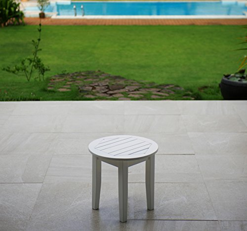 Cambridge-Casual Bentley Round Side Table, White Mahogany Outdoor Table