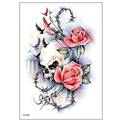 Calavera y rosas Tattoo TH de 159 ausdrucksvolles Tattoo: Amazon ...
